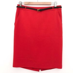 Red Trina Turk skirt with adorable black belt